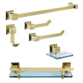Kit de Acessórios para Banheiro 6 Peças em Aço Inox Gold com Vidro Incolor Ducon