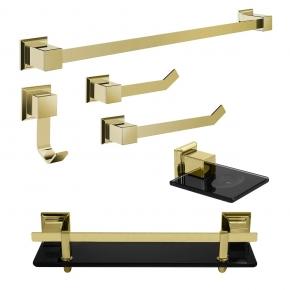 Kit de Acessórios para Banheiro 6 Peças em Aço Inox Gold com Vidro Preto Ducon