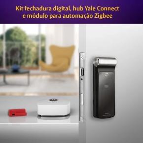 Kit Fechadura Digital YDF 30 RL com APP, Senha e Cartão + Hub + Módulo Yale