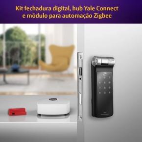 Kit Fechadura Digital YDF 40 RL com APP, Biometria e Senha + Hub + Módulo Yale