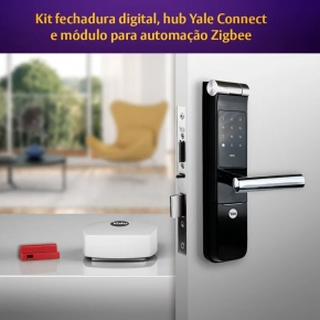 Kit Fechadura Digital YMF 40 com APP, Biometria e Senha + Hub + Módulo Yale