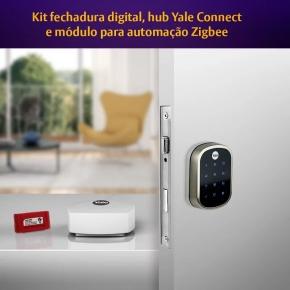 Kit Fechadura Digital YRD 256 RL com APP e Senha + Hub + Modulo Yale