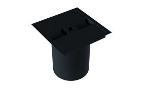 Lixeira de Embutir Quadrada com Puxador Quadrado Preto Fosco Xteel