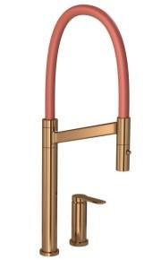 Misturador Monocomando de Cozinha Com Ducha Móvel Colore Red Gold e Terracota Deca