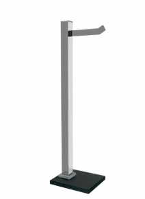 Papeleira de Chão com 1 Haste Premium de Aço Inox Polido Vidro Preto Ducon