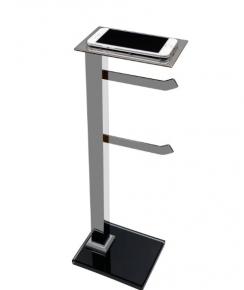Papeleira de Chão com 2 hastes Premium em Aço Inox Polido com Porta Celular e Vidro Preto Ducon
