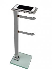 Papeleira de Chão com 2 hastes Premium em Aço Inox Polido com Suporte para Celular e Vidro Incolor Ducon