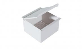 Porta Esponja com Tampa 15x15x10cm em Aço Inox Branco Fosco para Calha Úmida Xteel
