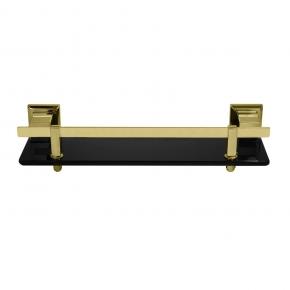 Porta Shampoo em Aço Inox Gold com Vidro Preto Ducon