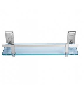 Porta Shampoo em Alumínio Escovado com Verniz e Vidro Incolor Ducon