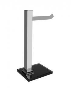 Porta Toalha de Bancada em Aço Inox Polido Premium Vidro Preto Ducon
