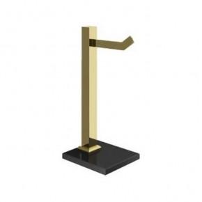 Porta Toalha para Bancada em Aço Inox Dourado com Vidro Preto Ducon