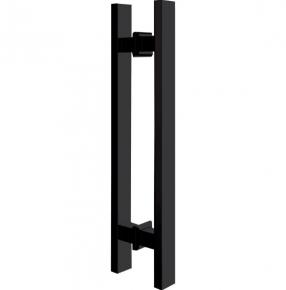 Puxador duplo para Porta 600mm em Aço Inox Preto Fosco Black Ducon