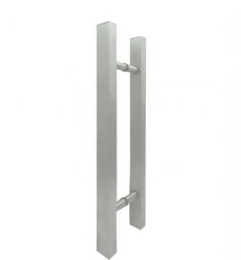 Puxador Duplo para Porta de Vidro/Madeira 1000mm Classic em Alumínio Escovado Ducon
