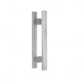 Puxador Duplo para Porta de Vidro/Madeira 1000mm Premium em Aço Inox Acetinado Ducon