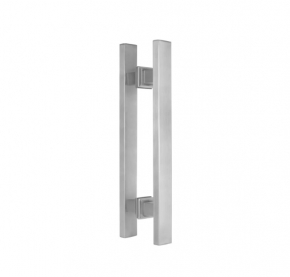 Puxador Duplo para Porta de Vidro/Madeira 450mm Premium em Aço Inox Acetinado Ducon