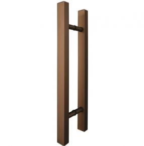 Puxador Duplo para Porta de Vidro/Madeira 600mm Classic em Alumínio Bronze Ducon