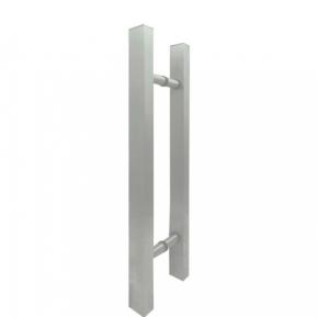 Puxador Duplo para Porta de Vidro/Madeira 600mm Classic em Alumínio Escovado Ducon