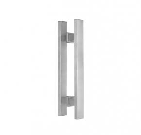 Puxador Duplo para Porta de Vidro/Madeira 600mm Premium em Aço Inox Acetinado Ducon
