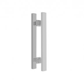 Puxador Duplo para Porta de Vidro/Madeira 600mm Premium em Aço Inox Polido Ducon