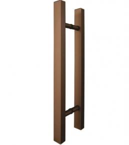 Puxador Duplo para Porta de Vidro/Madeira 800mm Classic em Alumínio Bronze Ducon