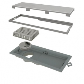 Ralo Linear Domini Pro Unique PVC 25cm Acabamento Inox Linear