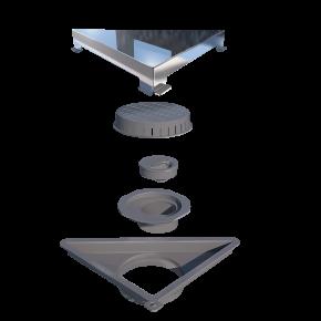 Ralo Linear Vertex Triangular Tampa Inox Polido