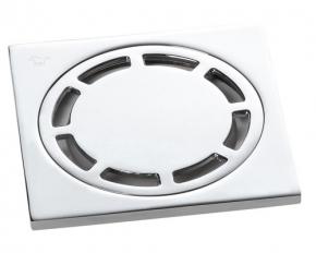 Ralo Quadrado 10x10 com Válvula de Fechamento Automático Cromado Doka