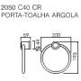 Porta Toalha Argola 2050 Targa C40 Cromado Deca