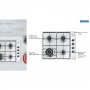 Cooktop 4 Queimadores a Gás com Tripla Chama 58x50 Inox New Square 4GX Tri 60 Tramontina