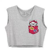 Blusa Cropped Feminina Hello Kitty Pocket