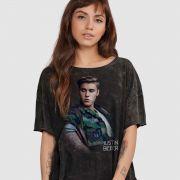 Blusa Feminina Justin Bieber Camouflage