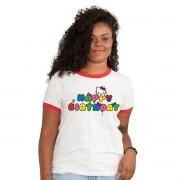 Camiseta Ringer Feminina Hello Kitty Happy Birthday