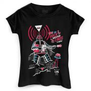 Camiseta Feminina 89FM A Rádio Rock 30 Anos Robô