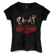Camiseta Feminina Mortal Kombat Choose Your Destiny