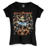 Camiseta Feminina Mortal Kombat Personagens