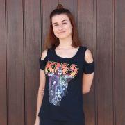 Camiseta Feminina Ombro Kiss Logo Band