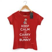 Camiseta Feminina Turma da Mônica Cool Keep Calm And Carry The Blue Bunny