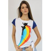 Camiseta Feminina Wonder Woman Rainbow