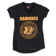 Camiseta Juvenil Decote V Mullet Feminina Ramones Logo