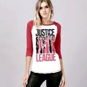 Camiseta Manga Longa Feminina Liga da Justiça Flags