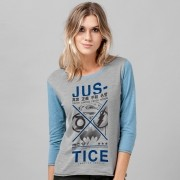 Camiseta Manga Longa Feminina Liga da Justiça Justice Japanese