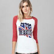 Camiseta Manga Longa Feminina The Beatles England Flag