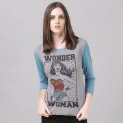 Camiseta Manga Longa Feminina Wonder Woman Retro Stars
