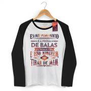 Camiseta Manga Longa Raglan Feminina Fresno Pensamento à Prova de Balas Type