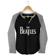 Camiseta Manga Longa Raglan Feminina The Beatles Classic Logo Negative