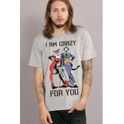 Camiseta Masculina Coringa e Harley Quinn I am Crazy for You