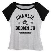 Camiseta Raglan Feminina Charlie Brown Jr Skate Por Toda a Vida