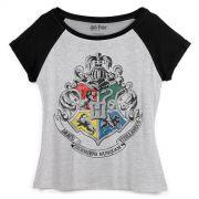 Camiseta Raglan Feminina Harry Potter Brasão de Hogwarts