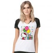 Camiseta Raglan Feminina Hello Kitty Birthday Balloons